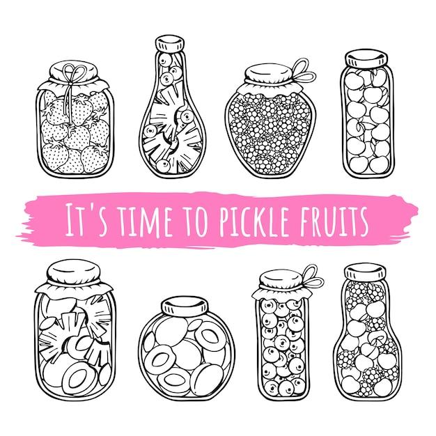 Frascos de vetor de frutas em conserva. Vetor Premium