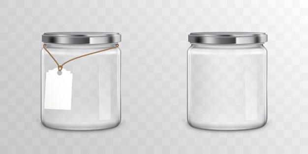 Frascos de vidro com etiquetas e etiqueta de metal Vetor grátis