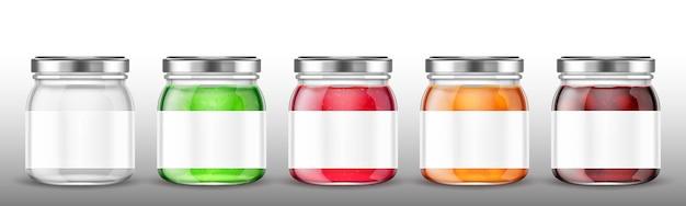 Frascos de vidro com geléia e etiqueta em branco. Vetor grátis