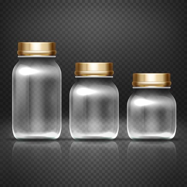 Frascos de vidro vazios Vetor Premium