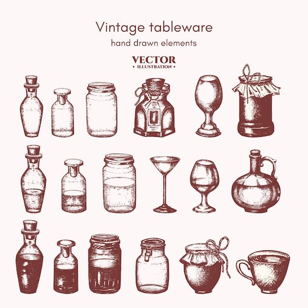Frascos e frascos de coleta Vetor Premium