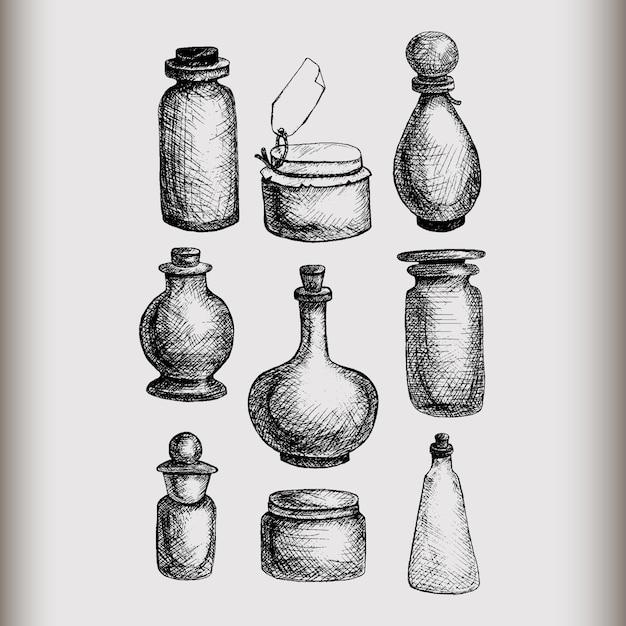 Frascos e garrafas de vidro isolados tirados mão do vintage ajustados. recipientes para compotas, alimentos, attar, otto, óleo essencial, óleos, líquidos, perfumes. Vetor Premium