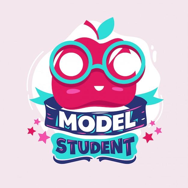 Frase de estudante modelo com ilustração colorida. de volta às citações da escola Vetor Premium