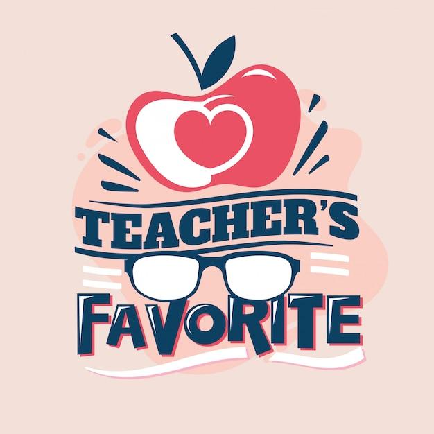 Frase de favorito de professor, amor de apple com óculos, volta para ilustração de escola Vetor Premium