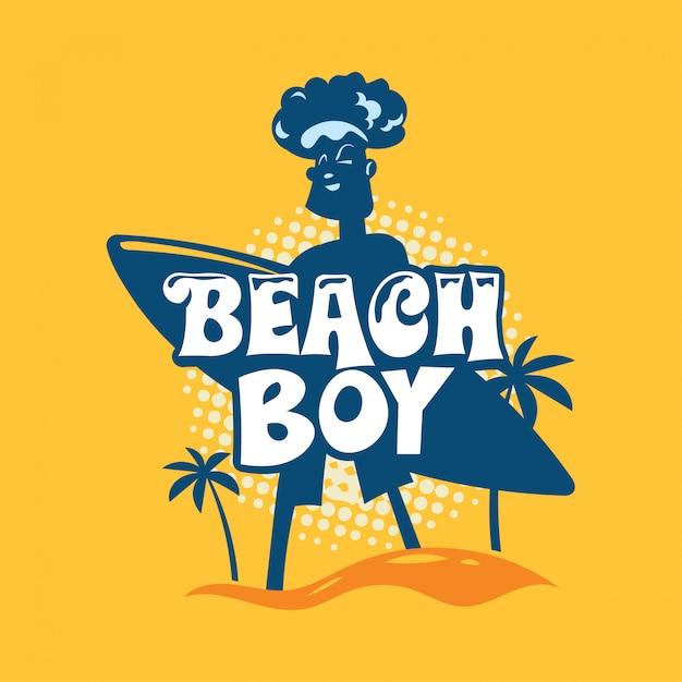 Frase de menino de praia. citação de verão Vetor Premium
