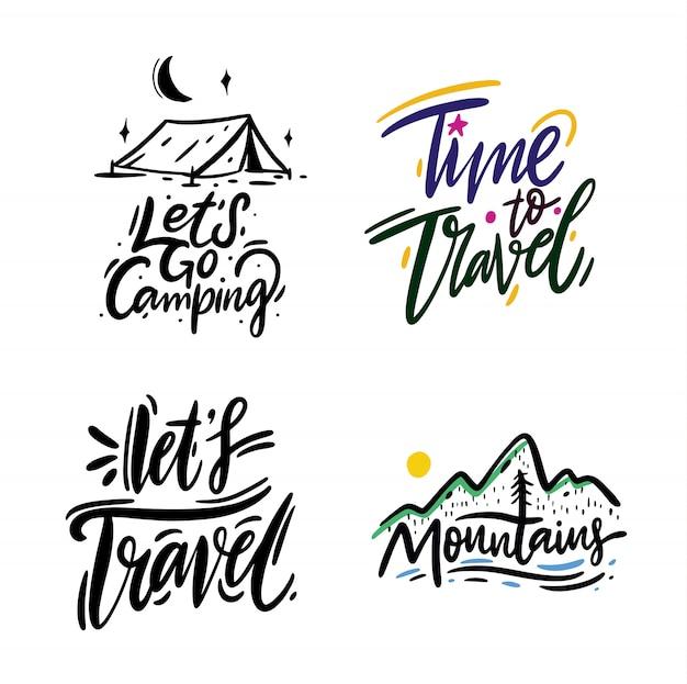 Frase de viagens e aventura mão desenhada letras de vetor. tinta preta. isolado no branco estilo dos desenhos animados. Vetor Premium