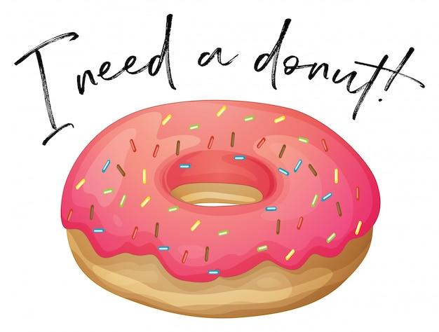 Frase eu amo donut com donut de morango Vetor grátis
