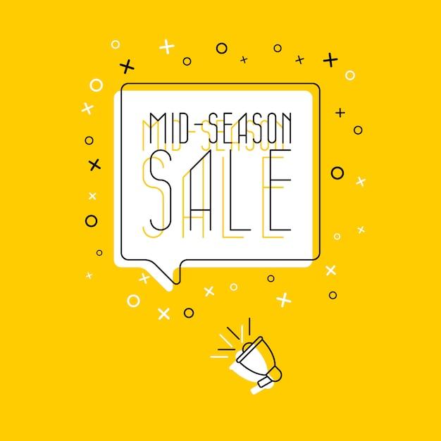 Frase 'venda no meio da temporada' no balão branco e megafone em amarelo Vetor Premium