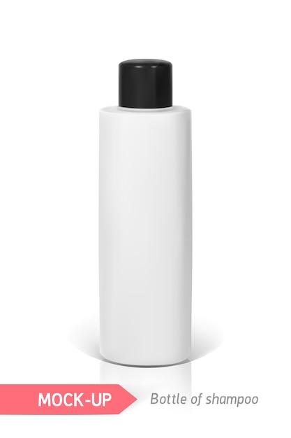 Frasquinho branco de shampoo. mocap para apresentação Vetor Premium