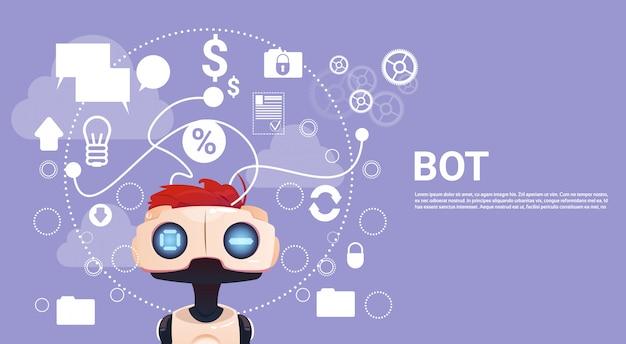 Free chat bot, elemento de assistência virtual robô do site ou aplicações móveis, artificial intell Vetor Premium