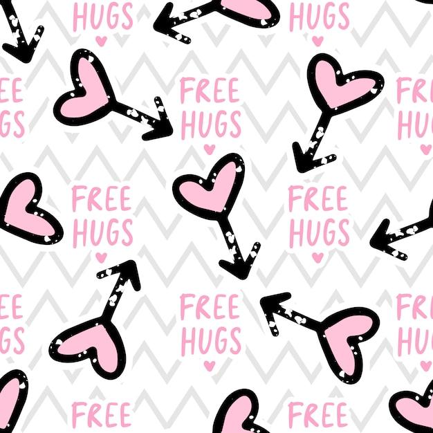 Free hugs seamless pattern amor, corações Vetor Premium