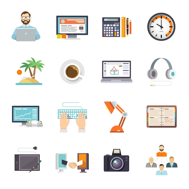 Freelance icon flat Vetor grátis