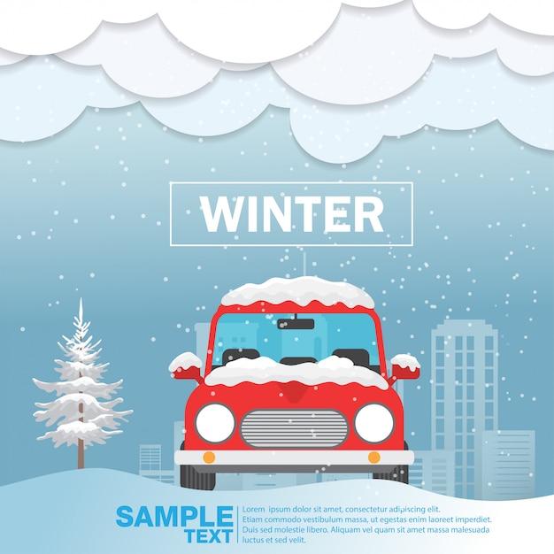 Frente carro, vista, ligado, neve, inverno, estação, vetorial, ilustração Vetor Premium