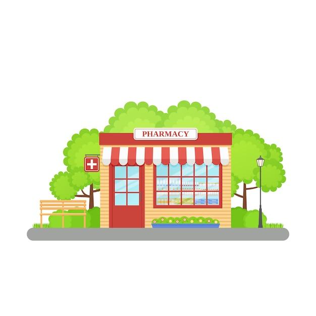 Frente de loja de farmácia, Vetor Premium