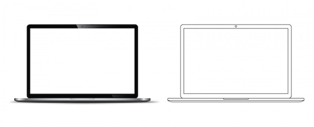 Frente de um notebook laptop Vetor Premium