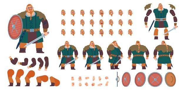 Frente, lado, vista traseira personagem animada. guerreiro viking, criação de personagem bárbara com várias vistas, emoções de rosto, poses e gestos. Vetor Premium
