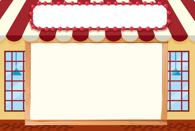 Frente loja ilustração com moldura em branco para copyspace Vetor grátis