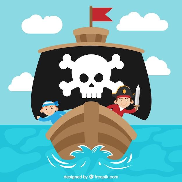 Frente, pirata, navio, fundo Vetor Premium