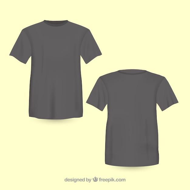 Frente t-shirt preta e volta Vetor grátis