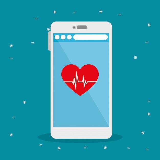 Frequência cardíaca e design de vetor de smartphone Vetor Premium