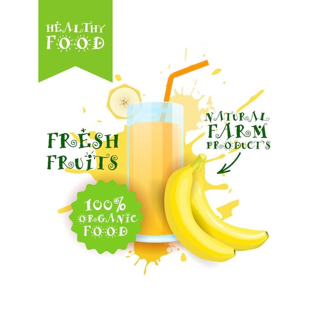 Fresco banana juice logo natural food farm produtos rótulo sobre pintura splash Vetor Premium