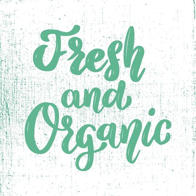 Fresco e orgânico. comida saudável. elemento para cartaz, banner, cartão, pacote. ilustração Vetor Premium