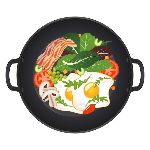 Frigideira quente com ovos fritos, bacon, cogumelos, tomate e alface, vista superior. ilustração isolada Vetor Premium
