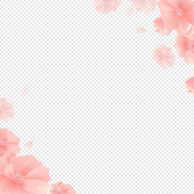 Fronteira com flores e fundo transparente Vetor Premium