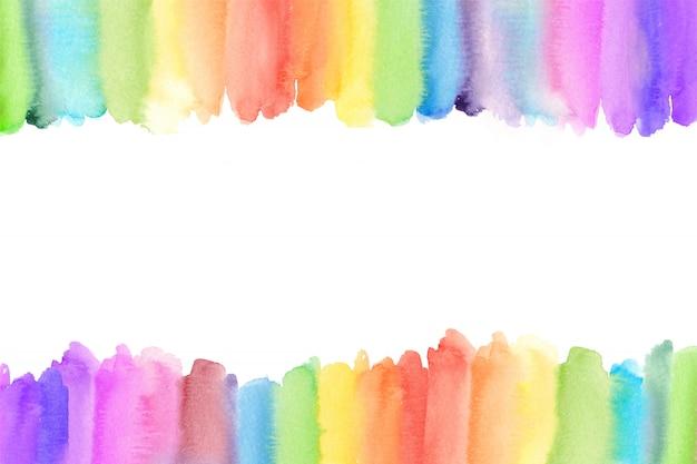 Fronteira de arco-íris em aquarela. fundo pintado arco-íris Vetor Premium