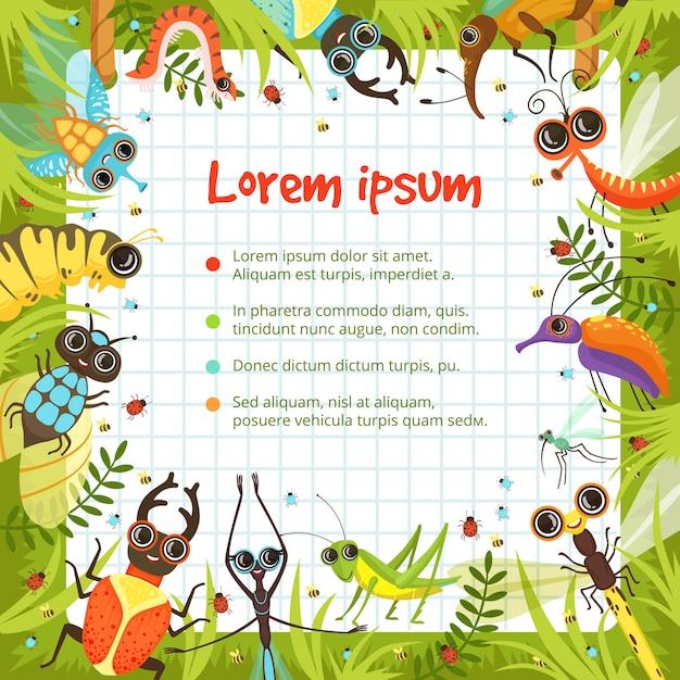 Fronteira de desenhos animados com insetos engraçados Vetor Premium