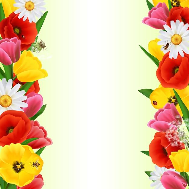 Fronteira de flor colorida Vetor grátis