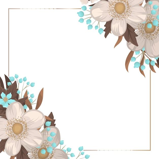 Fronteira de flor floral fundo branco Vetor grátis