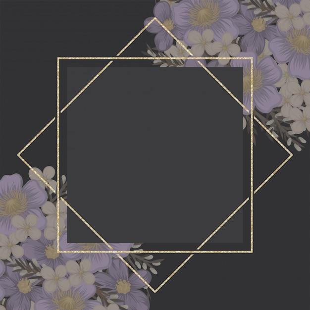 Fronteira de flor floral fundo roxo Vetor Premium