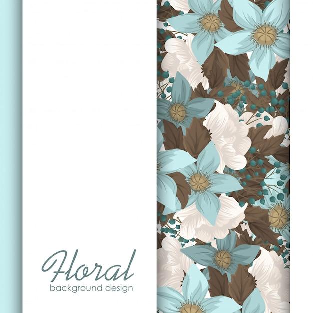 Fronteira de flor floral verde hortelã Vetor Premium