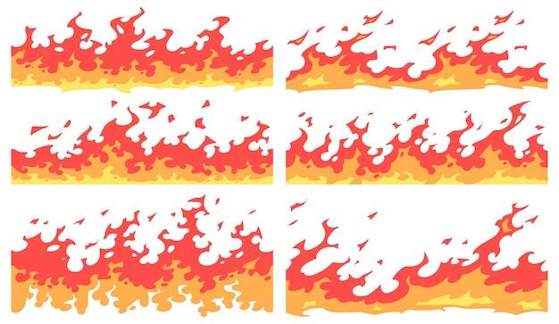 Fronteira de fogo dos desenhos animados. divisor de chamas, bordas de chamas de fogo brilhantes e chamas contínuas Vetor Premium