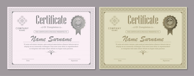 Fronteira de moeda de certificado diploma Vetor Premium