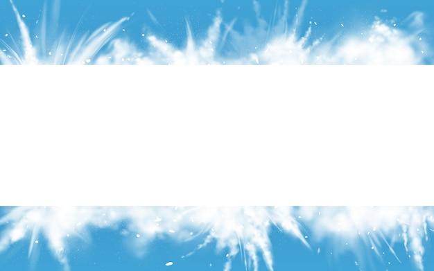 Fronteira de retângulo de neve em pó explosão branca. Vetor grátis