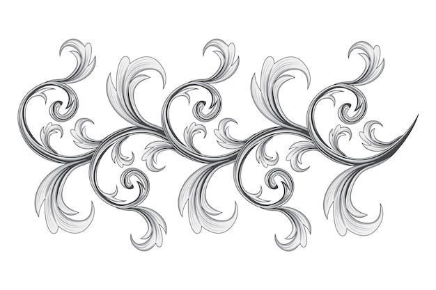 Fronteira ornamental barroca desenhada à mão Vetor grátis