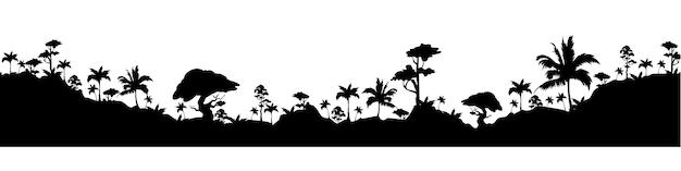 Fronteira sem costura silhueta tropical paisagem negra Vetor Premium