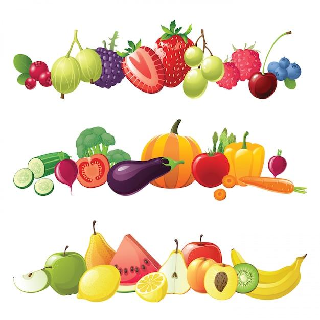 Fronteiras de frutas e legumes frutas Vetor Premium