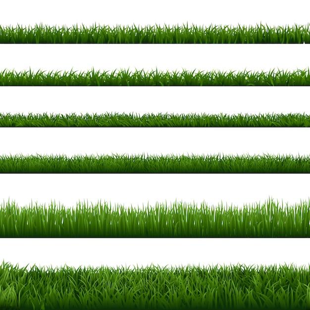 Fronteiras de grama realista. planta de erva de jardim verde, elemento de gramado fresco de paisagem de campo, exuberante prado jardinagem folhagem sem costura conjunto de fronteira. verão floral vegetação natural, quadros de primavera Vetor Premium