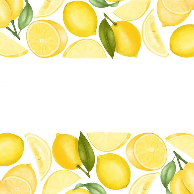 Fronteiras de limões desenhados à mão, fundo ilustração Vetor Premium