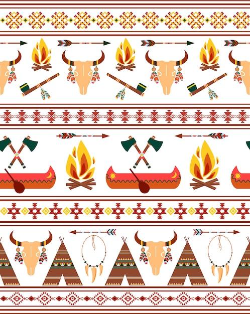 Fronteiras indígenas tribais nativas americanas sem costura para design de roupas Vetor grátis