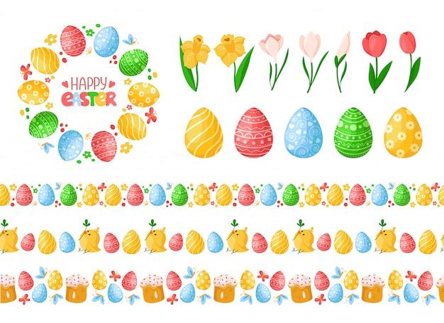 Fronteiras sem emenda do dia de páscoa com ovos de páscoa, galinhas, bolos e grinalda ou moldura redonda, letras Vetor Premium