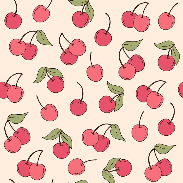 Fruta cereja padrões mão desenhada Vetor Premium