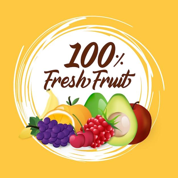 Fruta com cor simples Vetor Premium