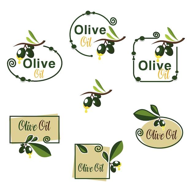 Fruta de azeite verde com crachá de folha de ramo Vetor Premium