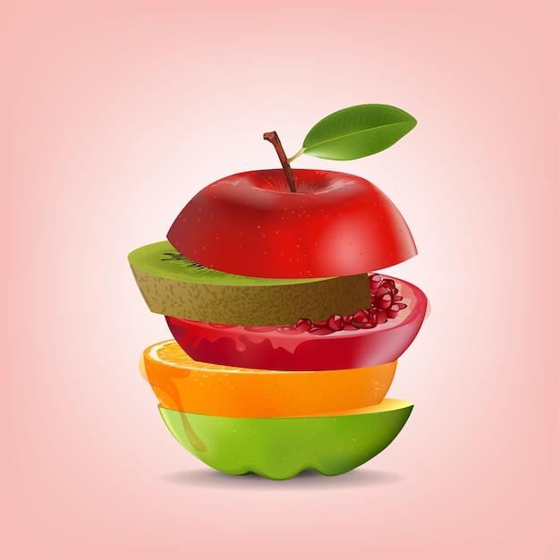 Fruta de mistura saudável criativa Vetor Premium