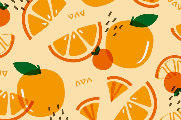 Fruta laranja estilo memphis Vetor grátis