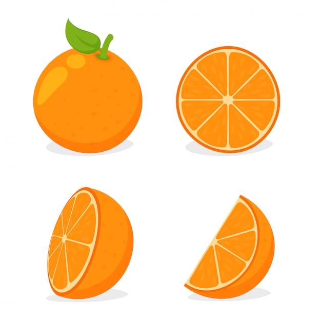 Fruta orangotango. laranjas cortadas ao meio e depois espremido suco de laranja em branco Vetor Premium